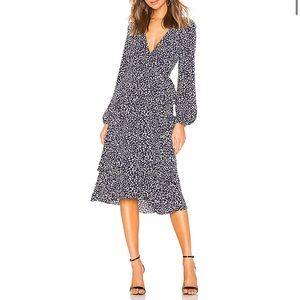 Privacy Please Vienna Midi Wrap Dress, Navy Dot